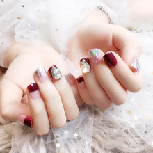 24Pcs Rhinestone Fake Nails Square Short Artificial Nail Tips Wine Red Glitter Phototherapy Full Cover False Nails Faux Ongles