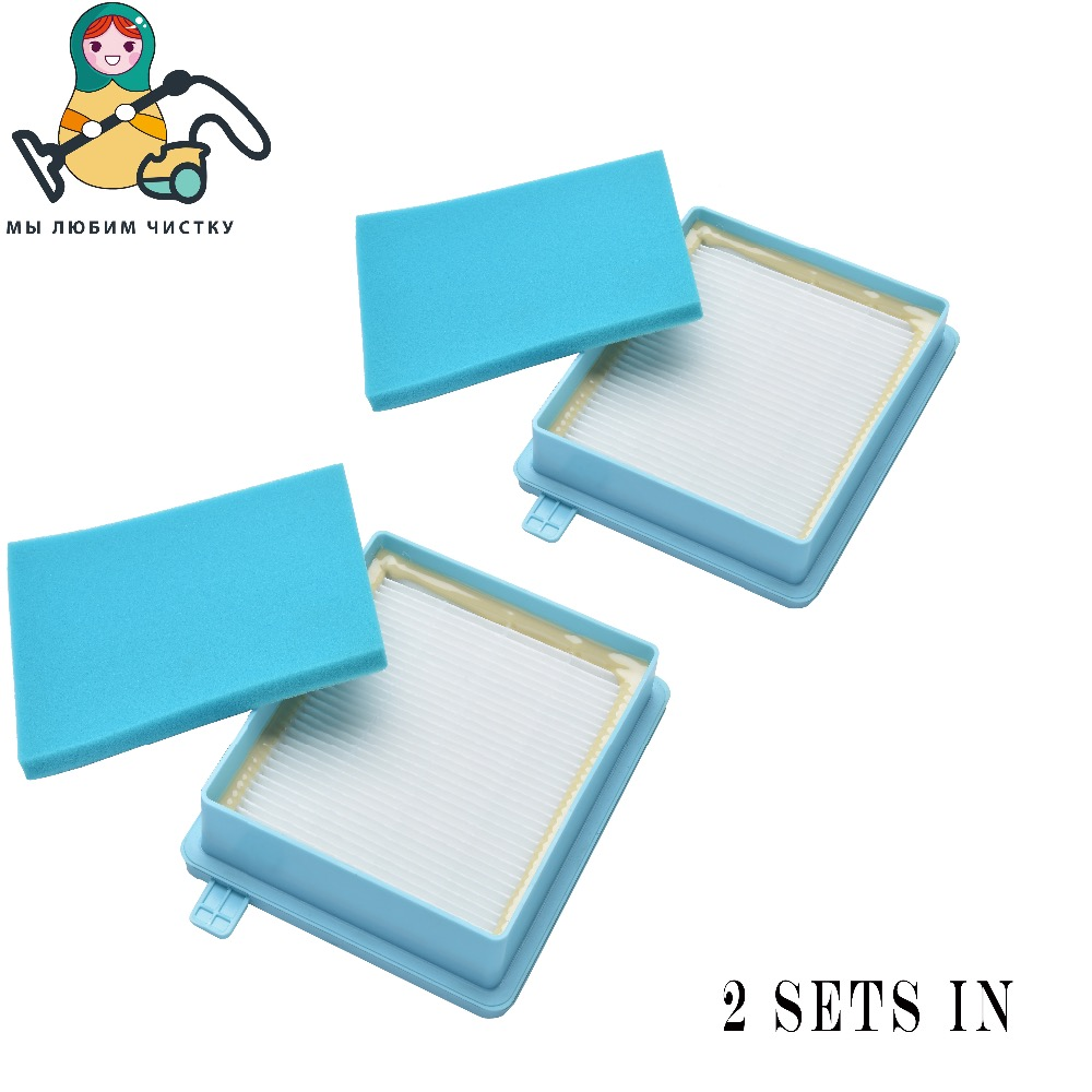 CLEAN DOLL 2-Set Filter HEPA foam for Philips PowerPro Compact Active FC8630-8649 FC8058 FC9320 FC8470 -8479 filter hepa foam
