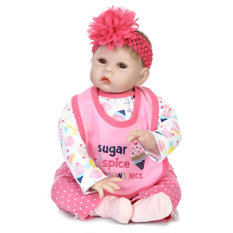 55cm/22 Newborn Infant Pink Sugar Spice Girls Baby Reborn Doll Vinyl Silicone Realistic Toy Gift Collection new sugar and spice the