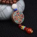 Moda collar étnico de evadir, La flor de religiosa placa redonda joyas de Nepal, hecha a mano sanwood bodhi collar pendiente de la vendimia