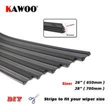 "KAWOO Top Quality Auto Vehicle Insert Rubber Strip Car Wiper Blade Blades (Refill) 6mm Soft 26"" 28"" 10pcs/lot Car Accessories(China)"