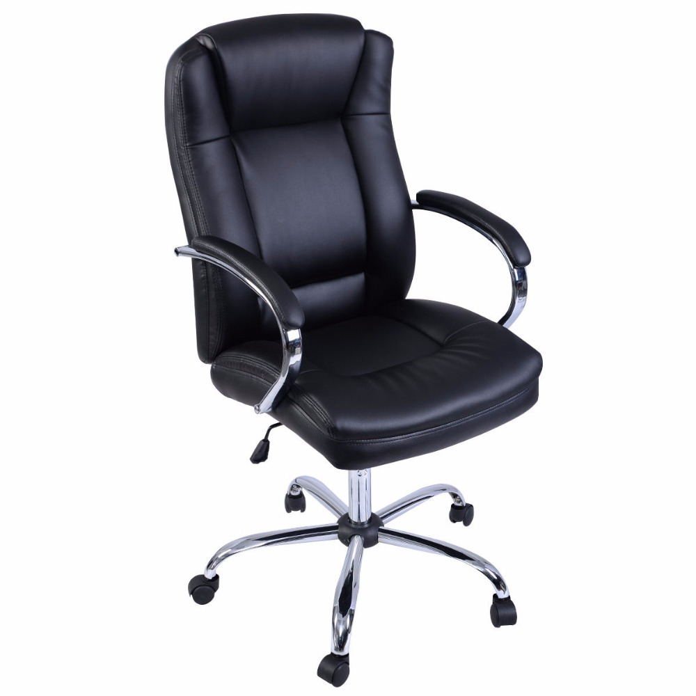 Goplus Ergonomic PU Leather High Back Executive Computer Desk Task Office Chair HW51424 240337 ergonomic chair quality pu wheel household office chair computer chair 3d thick cushion high breathable mesh