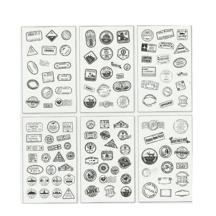 6 Sheets Retro Impression Postmark Decorative DIY Stickers Card Stickers Scrapbooking Stick Label Diary Stationery Album Sticker