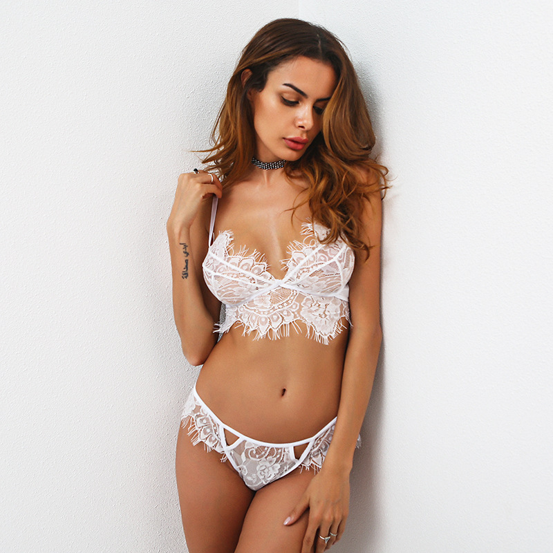 <font><b>2019</b></font> Fashion 1pc <font><b>Women</b></font> Lingerie Trim Straps <font><b>Bra</b></font> Soft Push Up Top Deep V Back <font><b>Sexy</b></font> <font><b>Lace</b></font> Bralette Set Transparent Cup Beauty Decos image