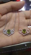Natural  green peridot stone Necklace natural gemstone Pendant Necklace women Ladies Fashion classic simple square Jewelry