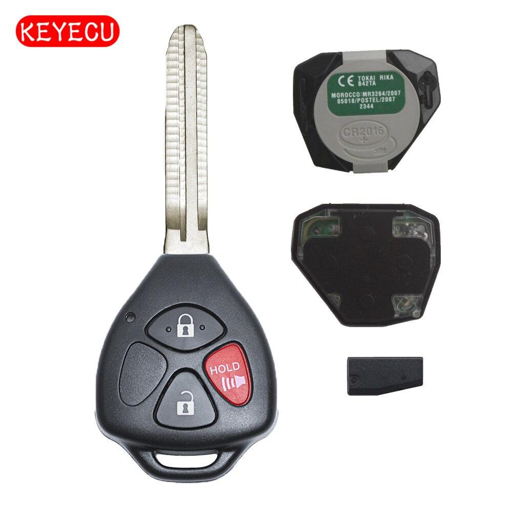 Keyecu Remote Key 3 Button 433MHz 4D67 Chip FOB for 2005-2008 Toyota Hilux FCC ID: MDL B42TA