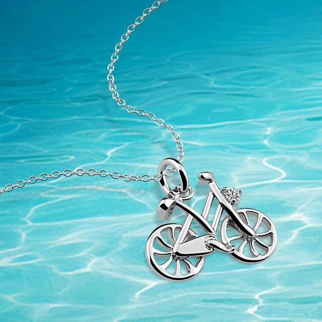 Твердые стерлингового серебра 925 моды творческие велосипед кулон ожерелье для женщин
