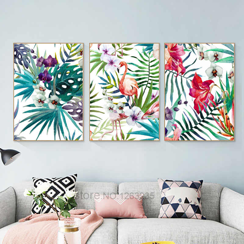 Palm Leaf Nordic Poster Flower Cuadros Decoracion Flamingo Plant Wall Pictures For Living Room Wall Art Canvas Painting Unframed