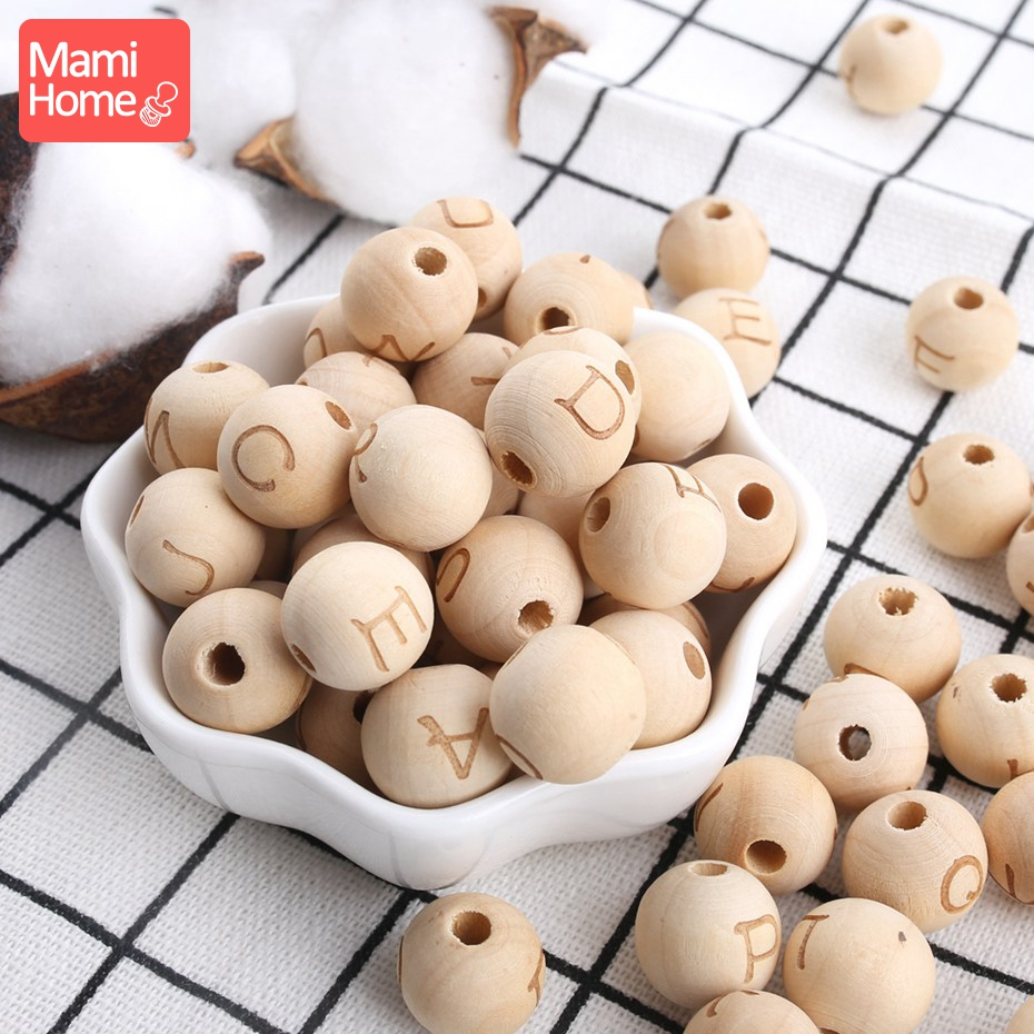 Mamihome 14mm 30PC Maple Wooden Round Letter Customize Baby Name DIY Pacifier Pendan Chew Beads Baby Tether Wooden Blank Toys