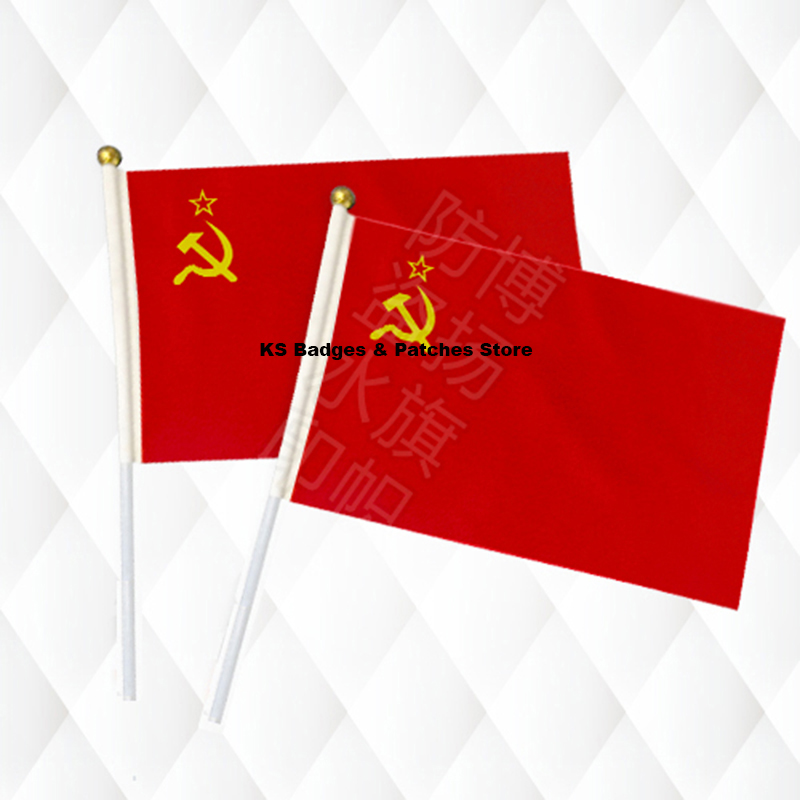 Syria Three Star Hand Held Stick Cloth Flags Safety Ball Top Hand National Flags 14*21CM 10pcs a lot