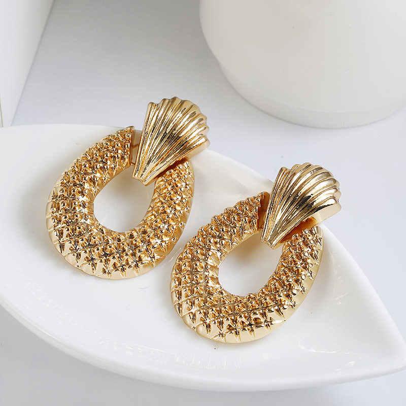 Nowe przesadzone Punk Heavy Metal kolczyki złoty kolor spadek kolczyk kolczyki geometryczne typu statement dla kobiet biżuteria