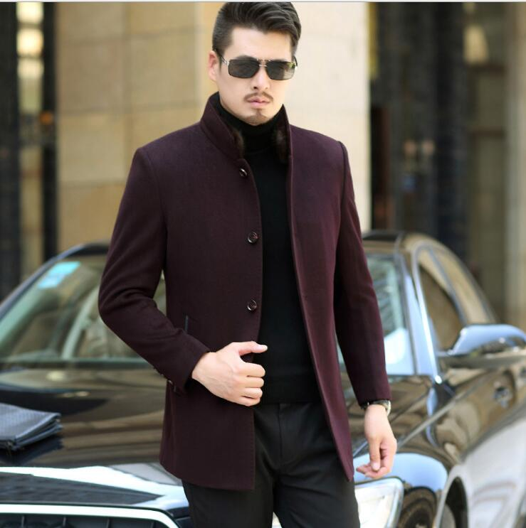 New arrival Winter men's wool business casual rex rabbit liner mink collar woolen jacket long section slim fit man trench coat