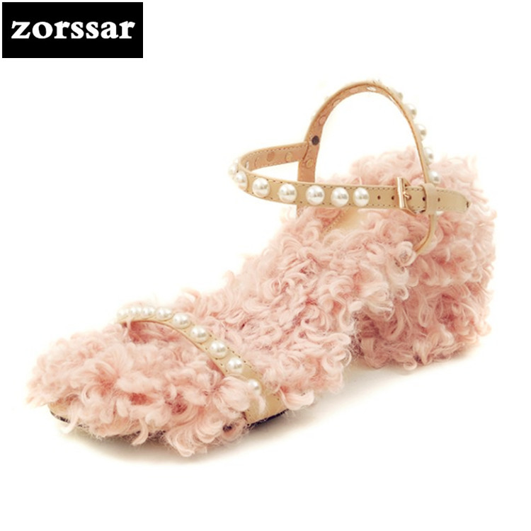 {Zorssar} 2018 Ankle Strap Heels Sandals Women Summer Shoes Open Toe thick High heels Fur shoes Party Dress Sandals Big Size 40 zorssar 2018 fashion ankle strap heels women sandals summer shoes women open toe high heels party dress sandals big size 43