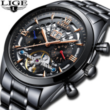 LIGE Sport Watch Men Automatic Self-Wind Stainless Steel 3ATM Waterproof Fully Automatic Calendar Mechanical Watch Male Clock ik colouring gold steel strip calendar automatic mechanical watch vintage mens watch male casual watch