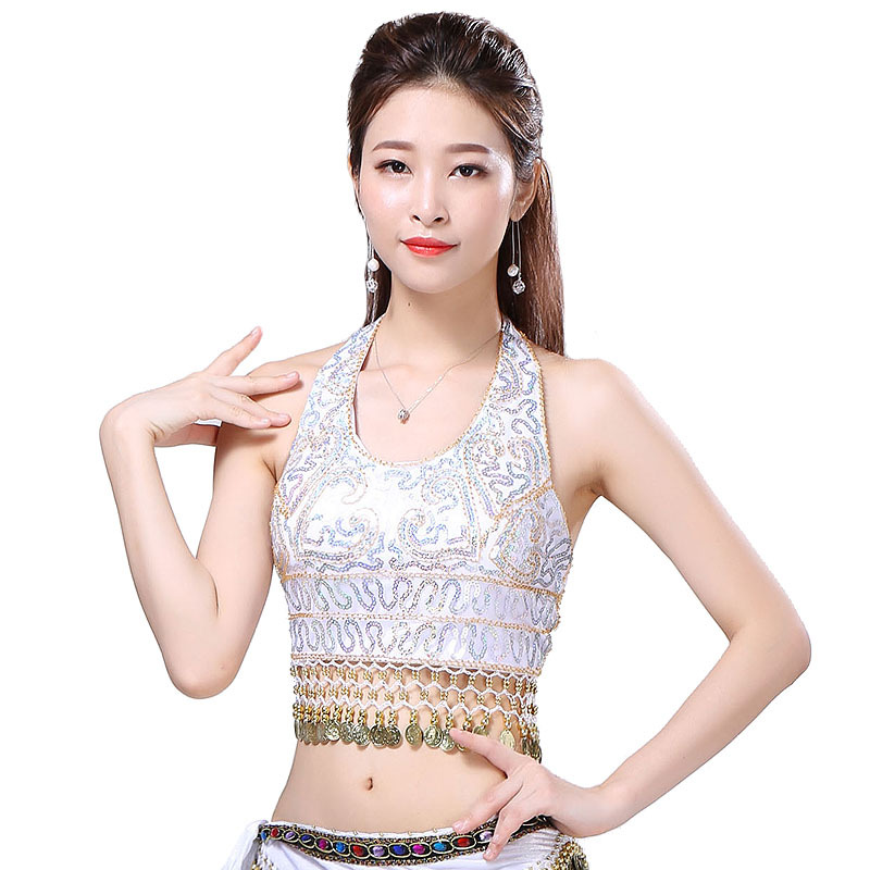 New Women Belly Dance Clothes Sleeveless Halter Costume Accessories Paillettes Sequins Fringes Top Bra Free Size