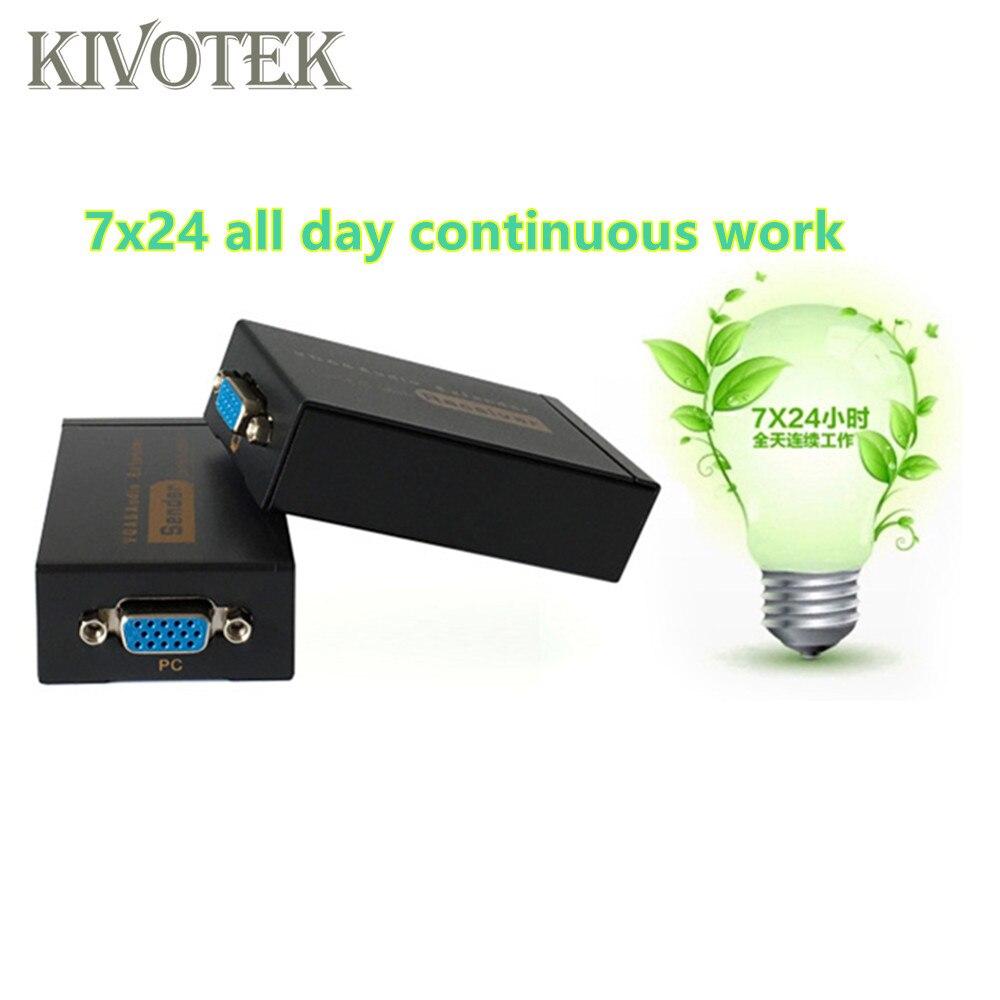 Adaptateur d'extension VGA VGA, SVGA, XGA, UXGA Extension d'émetteur VGA 100 m par connecteur Lan CAT5e/6 RJ45, pour CCTV, HDTV livraison gratuite - 6