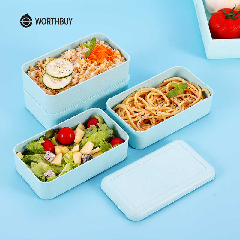 e6fd7029f5ba WORTHBUY Japanese Microwave Lunch Box For Kids Portable Leakproof School  Bento Box Wheat Straw Children Food Container Box