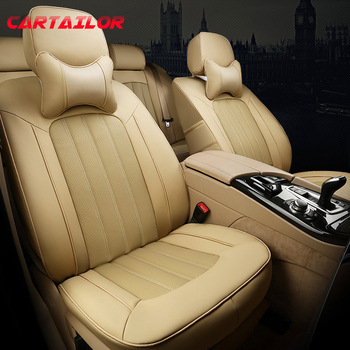 CARTAILOR Custom Fit Seat Covers Cars Cowhide & Artificial Leather Accessories Set for Land Rover Velar Cover Car Seat Protector