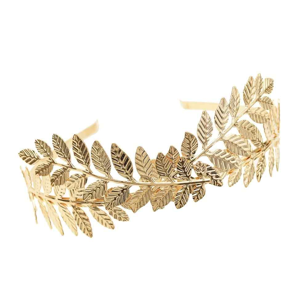 Baroque Forehead Silver Gold Metal Leaf Greek Hair Band Tiaras For Women Head Jewelry Bridal Headpiece Wedding Hair Accessories