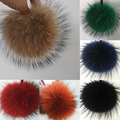 12cm -15cm  Brand New Design Charm Bag Real Raccoon Fur Pom pom Accessories Chain Natural Color Big Size Ball hand Bag Key Chain
