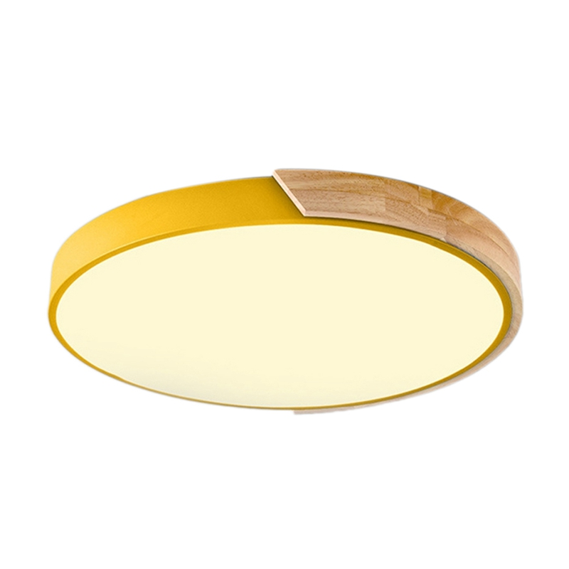 北欧オーク材調整可能な Led シーリングランプ暖かい光ラウンド寝室のランプ -