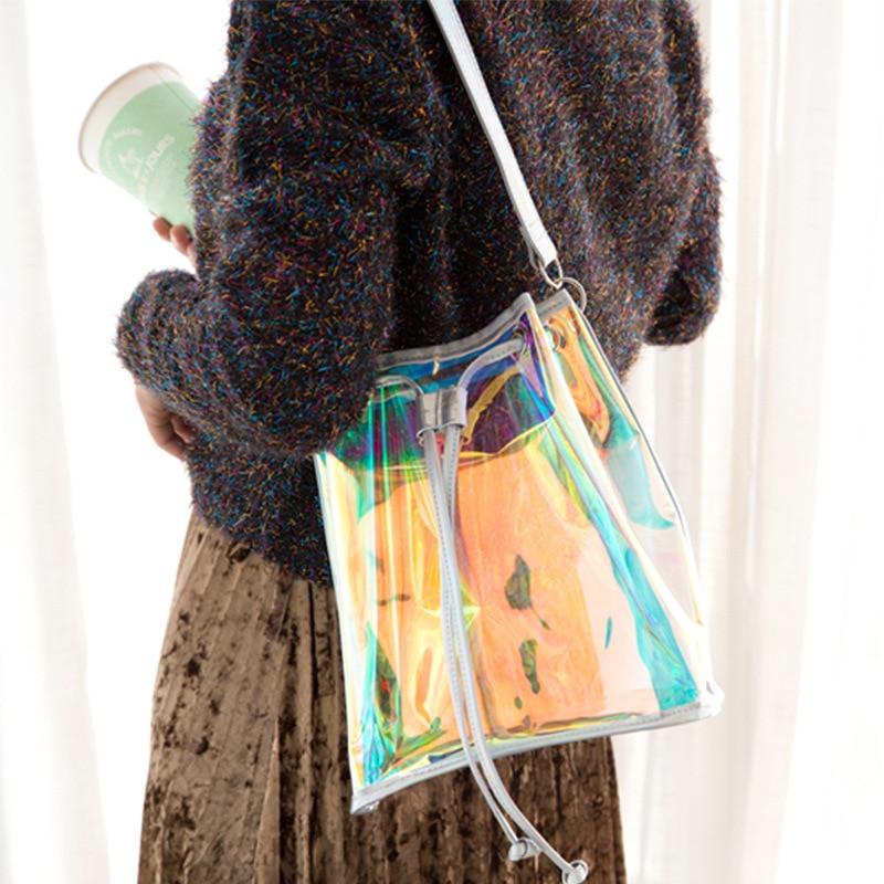 Bentoy Clear Women Bucket Bag PVC Drawstring Shoulder Bag Tassel Brand Hologram Laser Handbag Jelly Transparent Totes