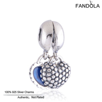 CKK Dangle Charms Genuine 925 Sterling Silver Mother & Son Blue Heart Beads for Jewelry Making Fits Pandora Charm Bracelet