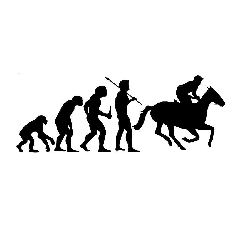 YJZT - Store 15.5cm*5.7cm Evolution Horse Racing Interesting Vinyl Decal Accessories Car Sticker Black Silver S6-2895