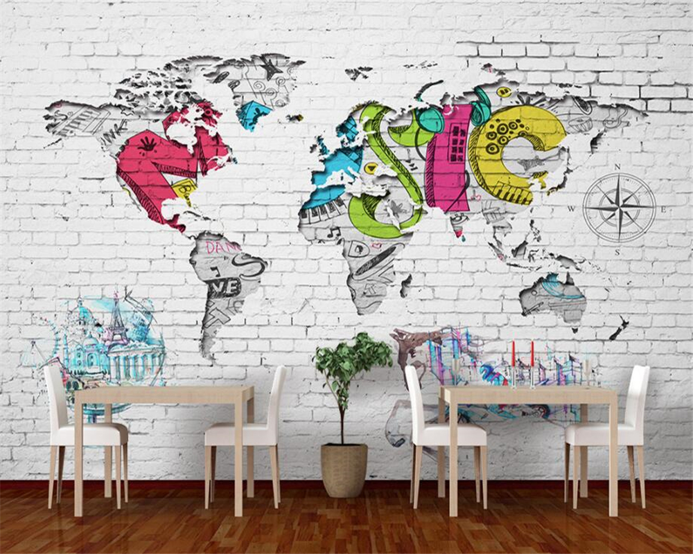 Full Wall World Map.Beibehang Custom Wallpaper White Brick Wall World Map Nordic