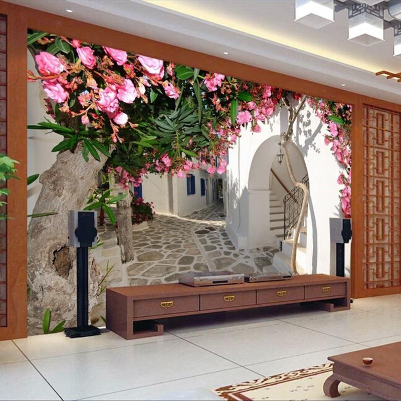 3D Photo Wallpaper Living Room TV Background Bedroom Sofa Wallpaper 3D Stereo Garden Flowers Mural Wallpaper