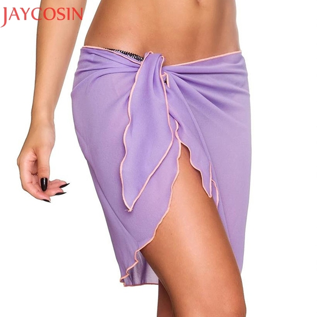 27e1f076b7c6c Summer Chiffon Skirt Ladies Sexy Wrap Skirts Wrapped Chest Coverup  Transparent Beach Mini Skirt Vestido Bath