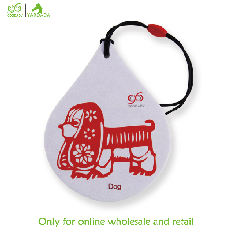 2018 Hot Selling Perfume Paper Air Freshener Car-styling Dog Shape Car Hanging Perfume Air Freshener for Purified Air Fragrance