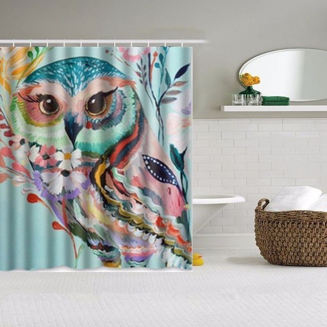 Owls Decor Fl Owl Design Waterproof Fabric Shower Curtain And Hooks Bathroom 147 5 X 180cm