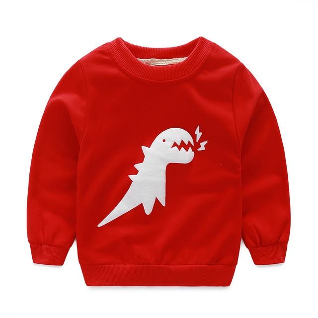 Осенние хлопковые Толстовки для маленьких мальчиков детская одежда Симпатичные длинным рукавом животных Динозавр Детский пуловер Толстовка/moleton Menino