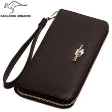 Kangaroo Kingdom Brand Men Wallets Long Genuine Leather Wallet Male Clutch Bag Purse Business
