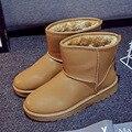 Новый Горячий Мода Снег Дождь Женская Обувь Сапоги Квартиры Зима Теплая мех Круглым Носком Плюшевые PU Верхняя лодыжки Суперзвезда Скольжения На Резиновой KY-988