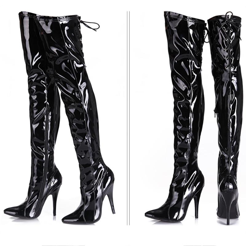 12 Mode Cuisse Bottes Genou Cm Fenty Femmes Glossyblack Chaussures Cuir En Talons Haute Verni De Sur Beauté Noir Longues Gothique 12cmheel Lady pXp8rZW