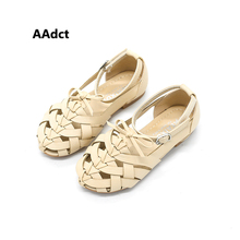 2017 summer Princess girls sandals woven Rome  children flat kids Beach shoes