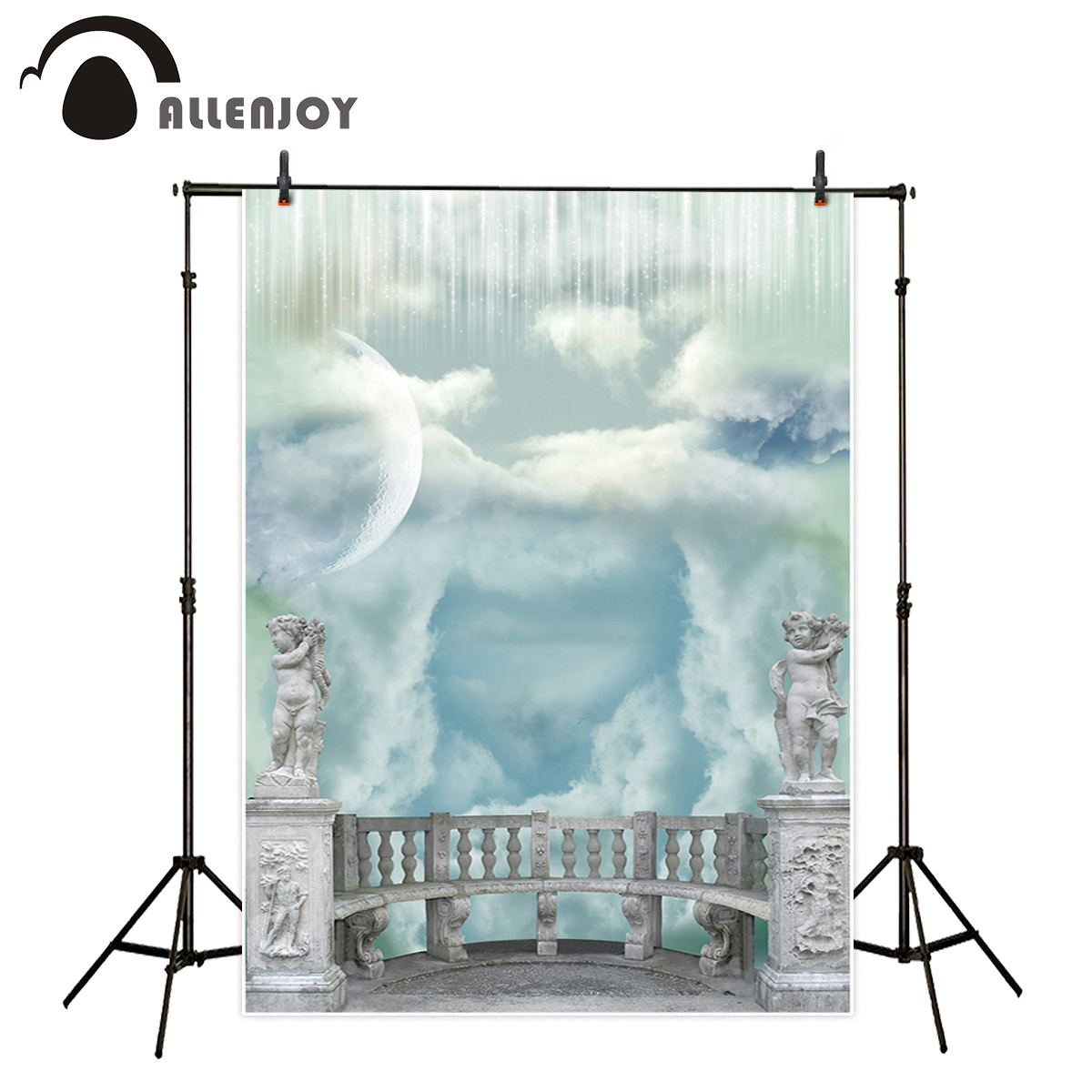 Allenjoy photography backdrop Paradise clouds sky pure railing engraved background newborn original design for photo studio allenjoy background for photo studio full moon spider black cat pumpkin halloween backdrop newborn original design fantasy props