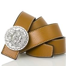 купить High Quality Luxury Designer Men Women Smooth Buckle Waistband Gold Silver Lion Head Waist Strap Leather Fashion Unisex Belts по цене 883.17 рублей