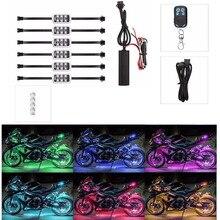 6 RGB di Controllo di Musica A Distanza Senza Fili HA CONDOTTO LA Luce Del Motociclo Lampada Atmosfera con Smart Luce di Freno Accento Stile Neon Luce kit