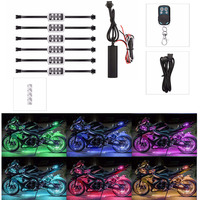 6 RGB Music Control Wireless Remote LED Car Motorcycle Light Atmosphere Lamp with Smart Brake Light Accent Neon Style Light Kit