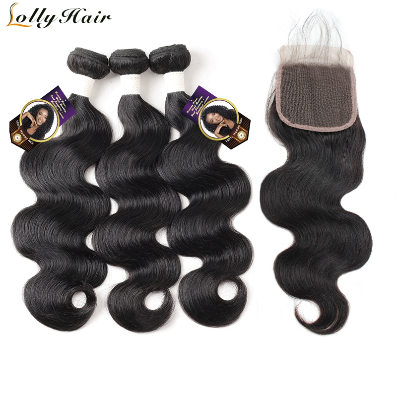 Lolly 3 Bundles Body Wave Hair With Closure Natural Black Indian Remy Hair Bundles 4*4 Three Part Lace Closure Swiss Lace