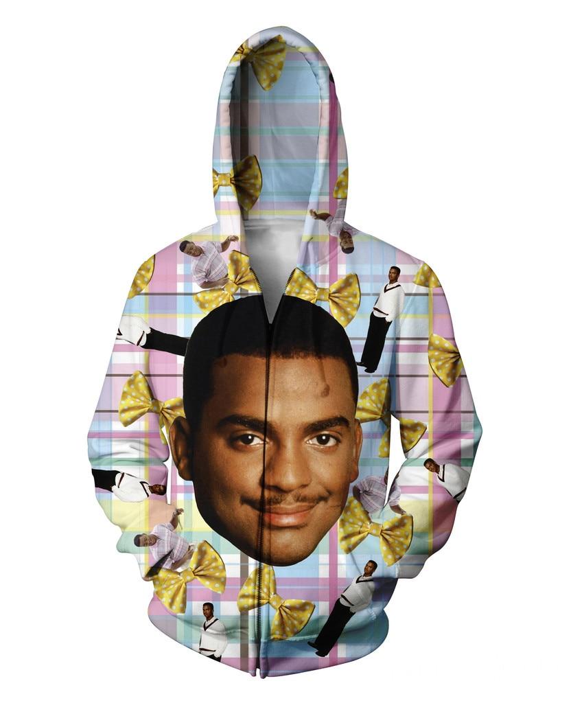 Carlton Zip-Up Hoodie Fresh Prince of Bel-Air 90s Will Smith JR 3D Sweatshirt Women Men Zipper Jumper Outfits Coats Sweats Tops