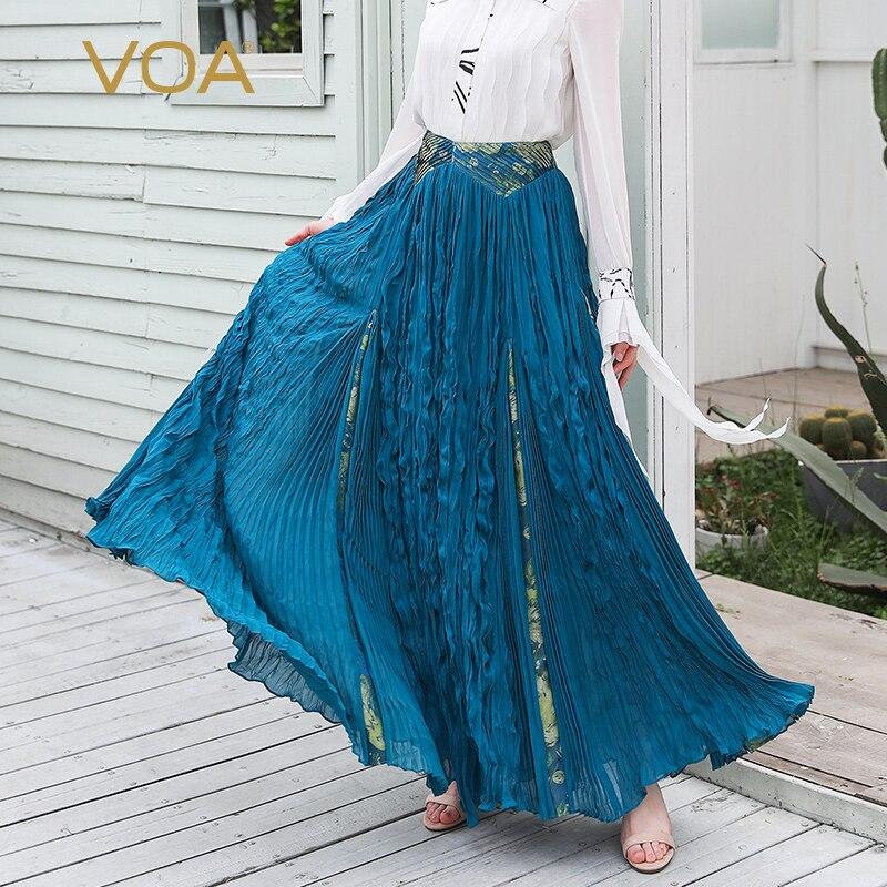 93710627e5a VOA Runway Maxi Long Silk Skirts Women Pleated Skirt Elegant Ladies Faldas  Blue Etek Rokken High Waist Large Size Mori Girl C587-in Skirts from Women s  ...