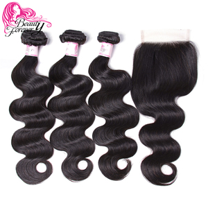 Image 2 - Beauty Forever Peruvian Body Wave Hair 3 Bundles With Lace Closure 100% Remy Human Hair With 4*4 Silk Base Closure