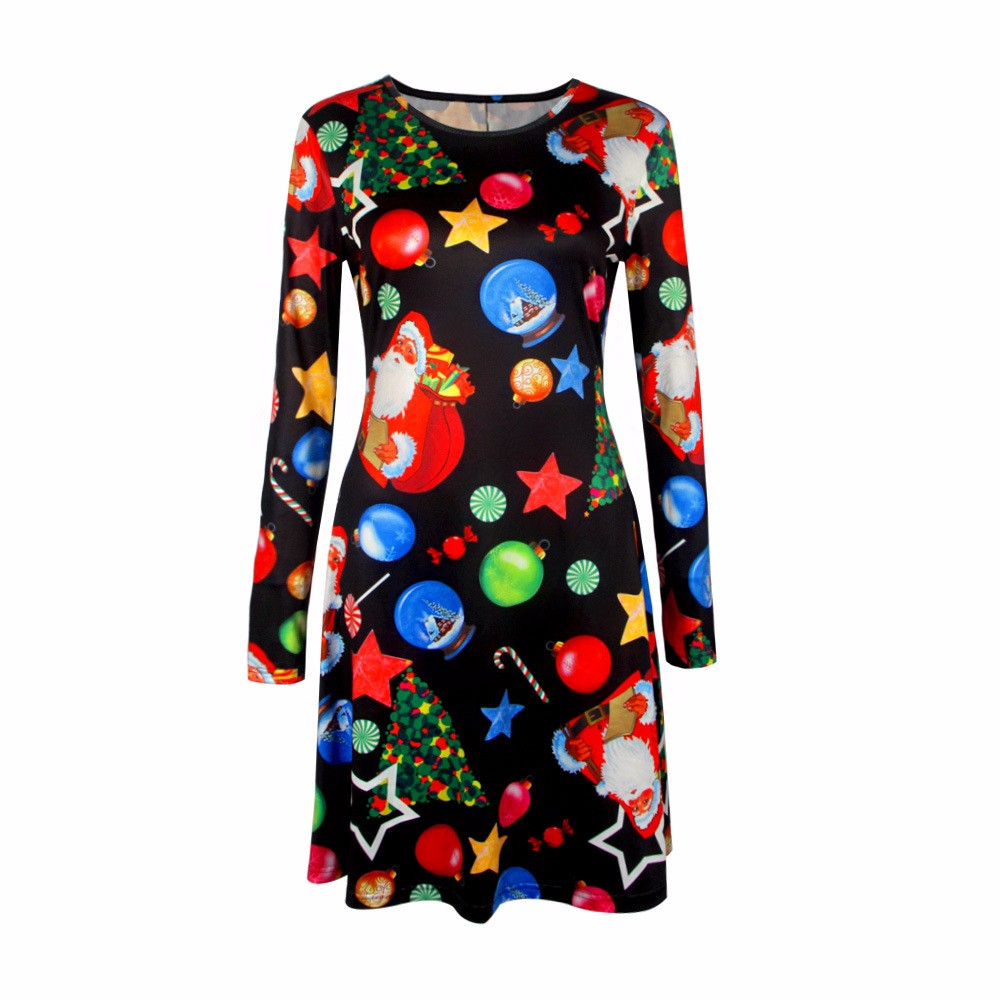 4XL 5XL Big Size Casual Print Cartoon Christmas Tree Cute Loose Dress Autumn Winter A-Line Dresses 18 Plus Size Women Clothing 12