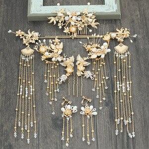 Image 1 - Китайский Свадебный головной убор шаг встряхивание кисточка тиара костюм Китайская свадьба Феникс головной убор cornote