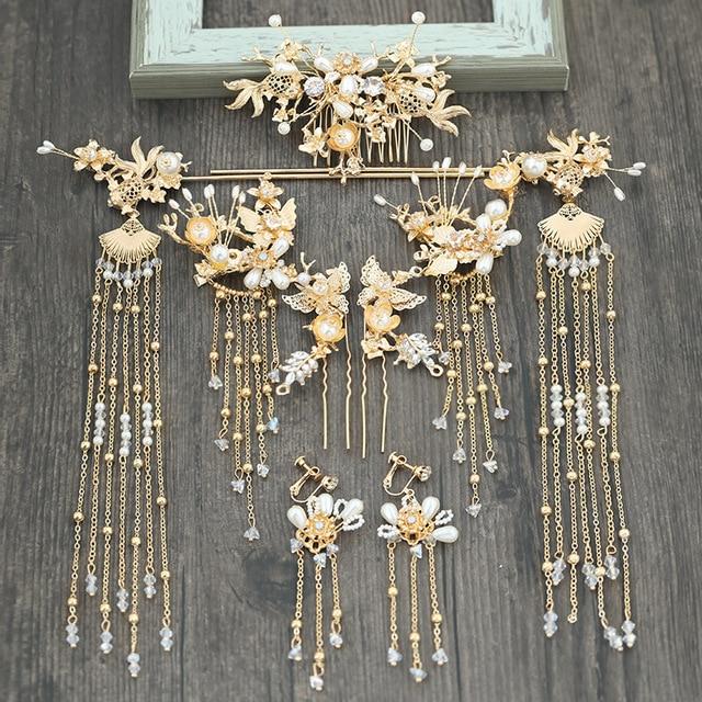 Китайский Свадебный головной убор шаг встряхивание кисточка тиара костюм Китайская свадьба Феникс головной убор cornote