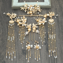 Chinese nupcial cocar passo shake tassel tiara terno chinês casamento phoenix headpiece cornote